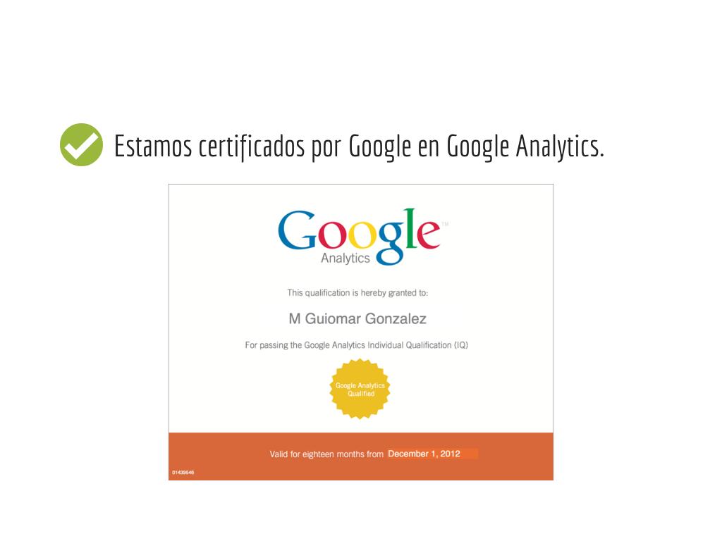GAIQ - certificado Google Analytics Guiometrics