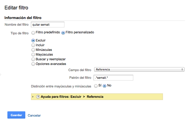 Filtro para  excluir a semalt de Google Analytics