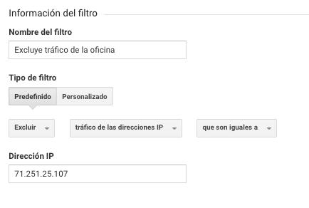 Filtro predefinido en Google Analytics