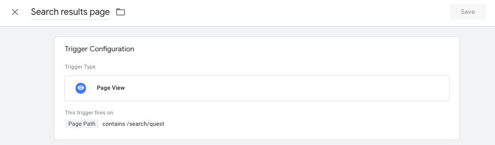 crear un activador para la página de resultado de búsqueda